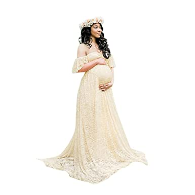 64571e77a0 Elegant Photography Maternity Wrap Dress Women Pregnant Dress Floral Lace  Off Shoulder Ruffle Sleeve Maxi Trailing