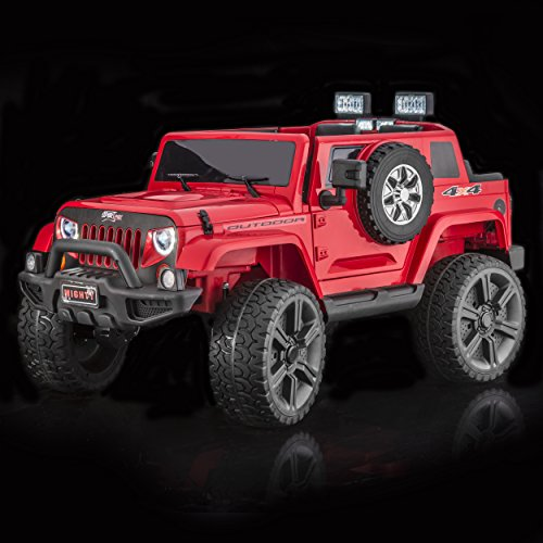 SUPERtrax Thar 4WD Kid's Ride On Electric Toy Car, Remote Control w/Free MP3 Player - Red