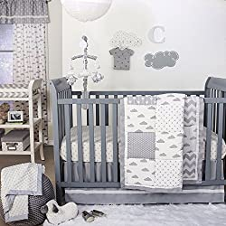 Grey Cloud and Geometric Patch Boy's 4 Piece Baby Crib Bedding Set by The Peanut Shell
