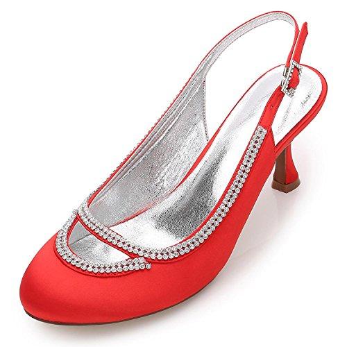Closed Custom Pumps Chunky Strass 29 Abend Schuhe L F17061 Hochzeit Red Frauen Satin YC Toe Hochzeit n14XR