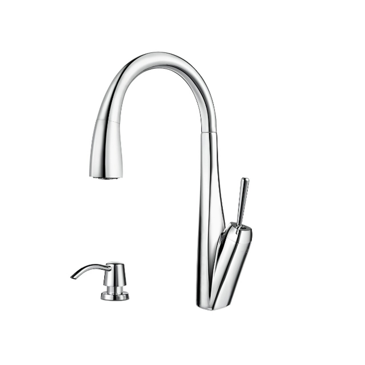 Pfister GT529-MPC Zuri Single Handle Pull-Down Kitchen Faucet and Soap Dispenser, Polished Chrome
