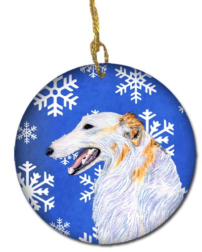 Caroline's Treasures SS4613-CO1 Borzoi Winter Snowflakes Holiday Christmas Ceramic Ornament, Multicolor