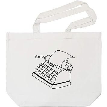 Azeeda Máquina de Escribir Bolso de Compras Blanco (BG00007999)