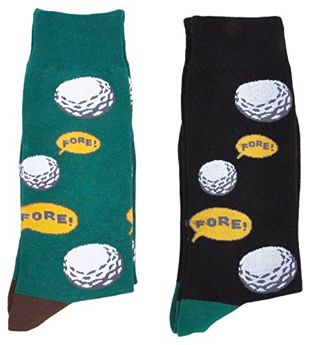 (Fine Fit Mens Novelty Trouser Socks 2 Pair Set - Choose Prints (Golf)