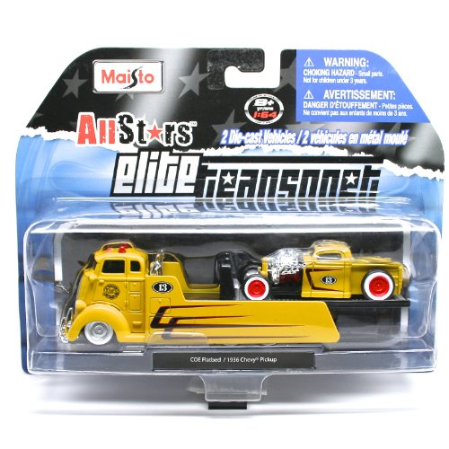 COE Flatbed (Yellow) / 1936 Chevy Pickup (Yellow) * Elite Transport * 2013 Maisto All Stars 1:64 Scale Die-Cast 2 Vehicle Set (Truck Tow Flatbed)