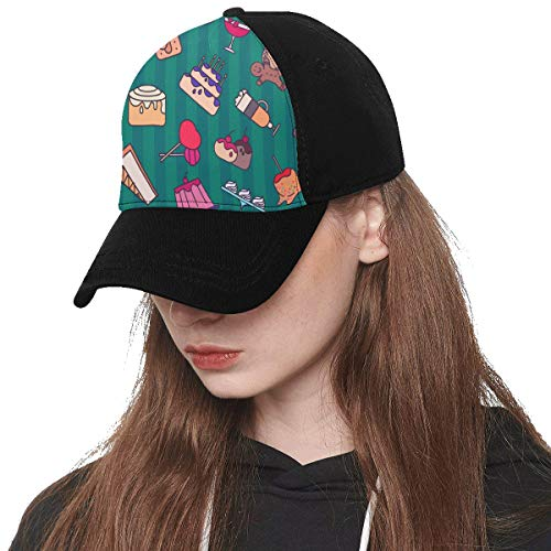 Front Panel Custom Bread Jam Sweet and Sour Sauce Breakfast Printing Baseball Hat Adjustable Size Curved Dad Cap Suit for Hip-hop Sports Summer Beach Outdoor Activities Unisex