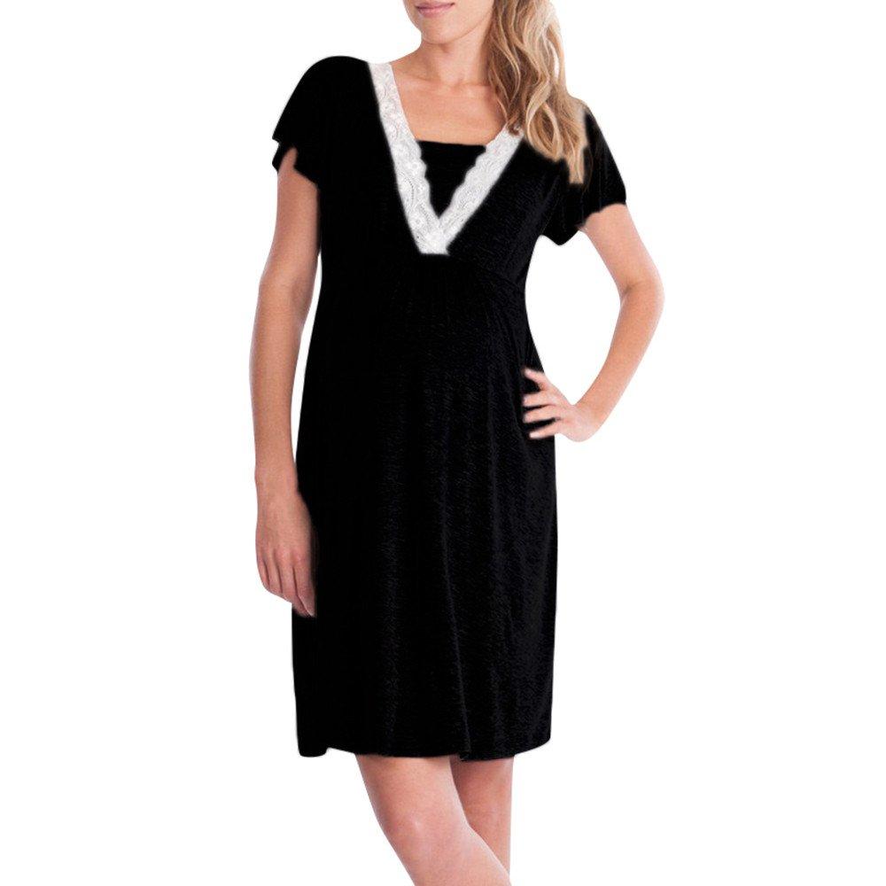 Topgrowth Camicie da Notte Premaman Abito per Allattamento Vestito Donna Casual Madre Pigiama Camicia da Notte