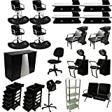 LCL Beauty Professional 4 Station Package Styling Chair & Station, Backwash Unit, Anti Fatigue Mats Complete Salon Spa Beauty Equipment