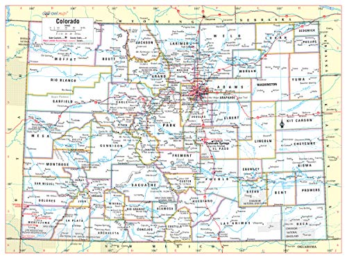 "Cool Owl Maps Colorado State Wall Map Poster Rolled 32""x24"" (Paper)"