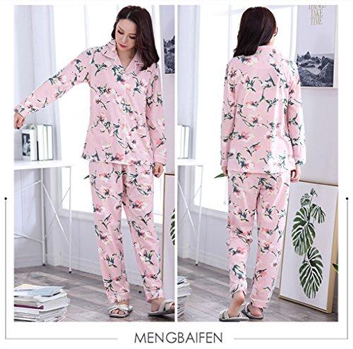 Top e bottoni lunghe pantaloni colorato maniche design pigiama fiore Set con a Naughtyspicy da Grande Rosa Pigiameria donna qxwz1WH8R
