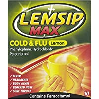 Lemsip Max Cold and Flu with Decongestant Hot Drink Lemon (10 Pack)