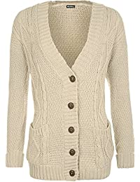 WearAll Women's Cable Knitted Button Cardigan Ladies Long Sleeve Boyfriend Top