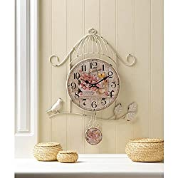 Clocks BIRDCAGE COUNTRY ROSE WALL CLOCK Flowers Butterfly Battery Shabby Chic Bird Cage Shape Gift Kitchen Den Room