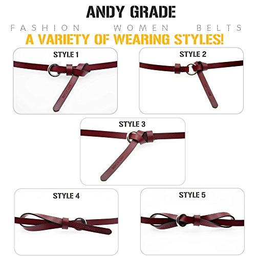 Set of 5 Women's Genuine Cowhide Leather Belts Stylish Thin Dresses Fashion Vintage Casual Skinny Belt for Jeans Shorts Pants Summer for Women With Alloy Buckle By ANDY GRADE by ANDY GRADE (Image #4)