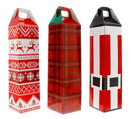 Wine Bottle Box - 3 Pack of Assorted Christmas Designs