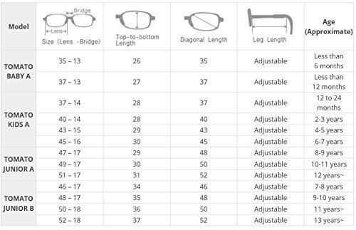 Tomato Glasses Frame Specialized for Kids : Non-slip, Adjustable, Ultralight, & Safe (FDA Approved): TKAC7 (43 ㅁ 15)