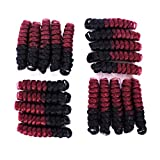 (US) Short Curly Crop Crochet Braids Tapered Cut Natural Hair Each Box 20strands Curled Spiral Bounce Curly Crochet Hair (Saniya 10inch 1bbug)