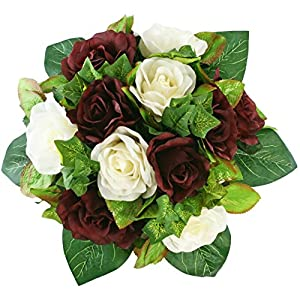 Burgundy and Ivory Silk Rose Nosegay - Silk Bridal Wedding Bouquet 12
