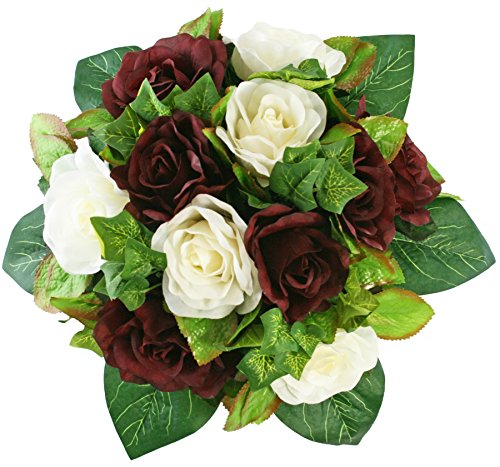 Burgundy and Ivory Silk Rose Nosegay - Silk Bridal Wedding Bouquet ()