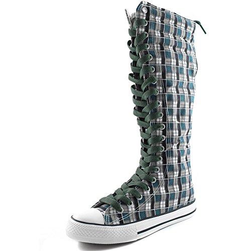 Dailyshoes Damesschoenen Mid Kalf Lange Laarzen Casual Sneaker Punk Flat, Blauw Wht Geruite Laarzen, Olijfgroen Kant