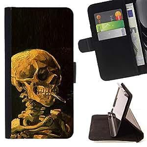 For Sony Xperia Z1 Compact / Z1 Mini (Not Z1) D5503 Case , Humo Negro Profundo Significado Death Metal- la tarjeta de Crédito Slots PU Funda de cuero Monedero caso cubierta de piel