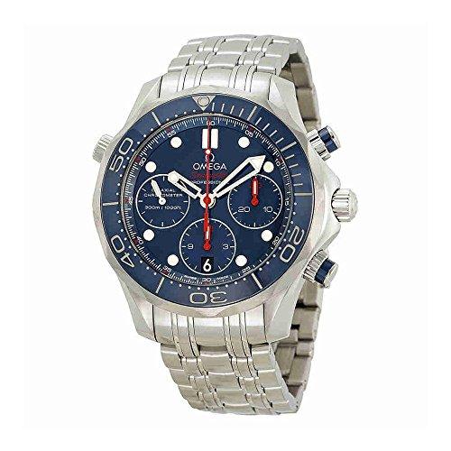 Omega Seamaster Diver - Omega Seamaster Diver Chronograph Blue Dial Steel Mens Watch 21230425003001