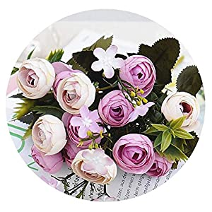 Zalin 13Heads Silk Artificial Peony Fake Flowers Small Rose Tea Buds Fleur artificielles for Home Wedding Decoration Flower 106