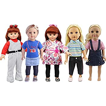 26d60ed37 Amazon.com  18 inch Doll Clothes Accessories 5 Outfit Set Fits for ...