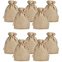 "Pandahall 100pcs Burlap Packing Pouches Drawstring Bags 5x7"" Gift Bag Jute Packing Storage Linen Jewelry Pouches Sacks for Wedding Party Shower Birthday Christmas Jewelry DIY Craft, Peru"