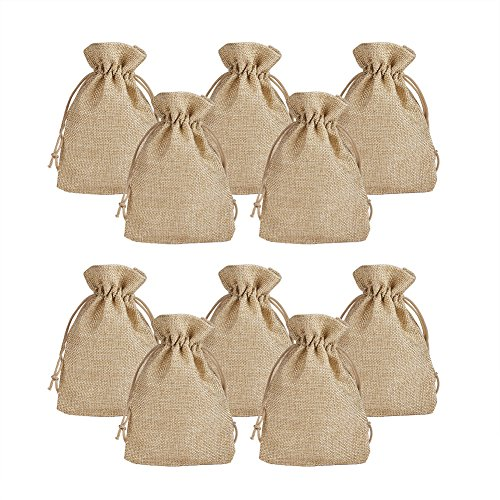 Pandahall 100pcs Burlap Packing Pouches Drawstring Bags 5x7