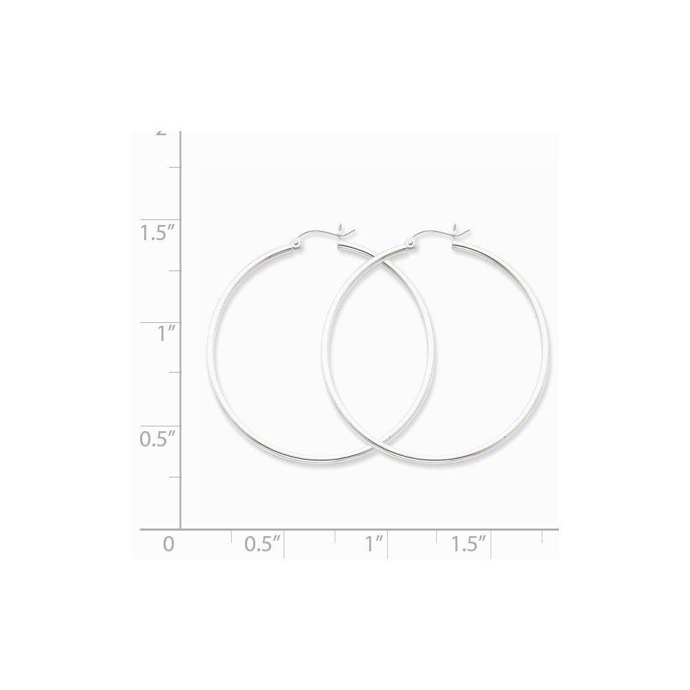 925 Sterling Silver Rhodium-plated 2mm Hoop Earrings