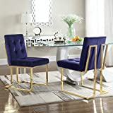 Iconic Home Levi Modern Contemporary Tufted Velvet Polished Brass Metal Frame Dining Side Chair, Navy