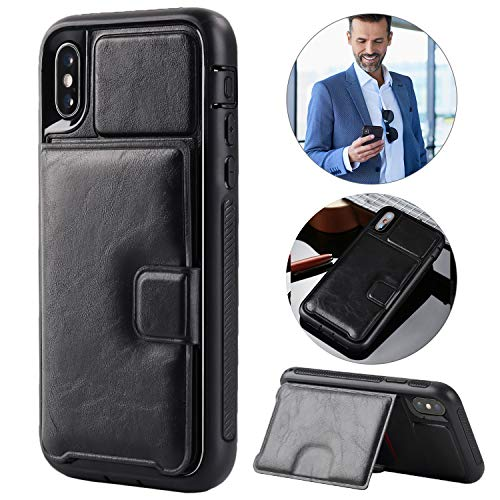 bangcool iPhone X Wallet Case, iPhone X Case with Card Holder Shockproof Full-Body Rugged Flip Protective Case Compatible with Apple iPhone X/iPhone Xs - Black with Lanyard Finger Ring