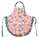 Kids Toddler Kitchen Cotton Apron with Pocket,Floral Animal Pattern Child Apron Cooking Baking Painting(Girl Pink,2-3 Years Old)