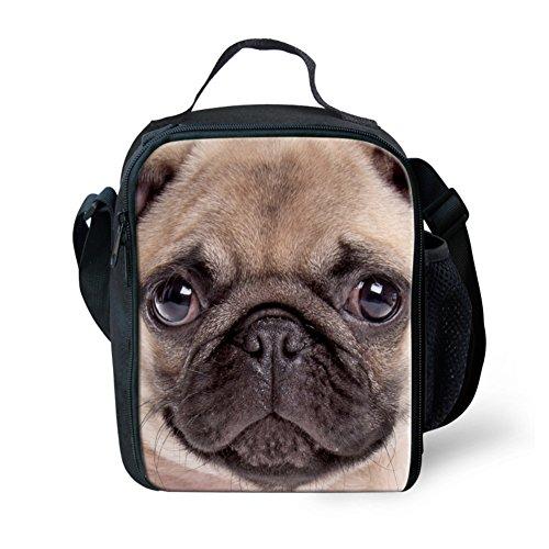 Showudesigns Cute Print Pug Dog Lunch Bag for Kids with One Side (Print Pug Dog)