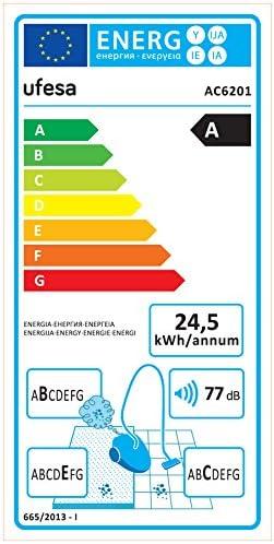 Ufesa AC6201 Aspirador Con Bolsa, 700 W, 2.5 litros, 77 Decibelios, Blanco y rojo: Amazon.es: Hogar