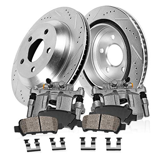 (REAR OE [2] Calipers + [2] 5 Lug Drilled/Slotted Rotors + Quiet Low Dust [4] Ceramic Pads Kit)