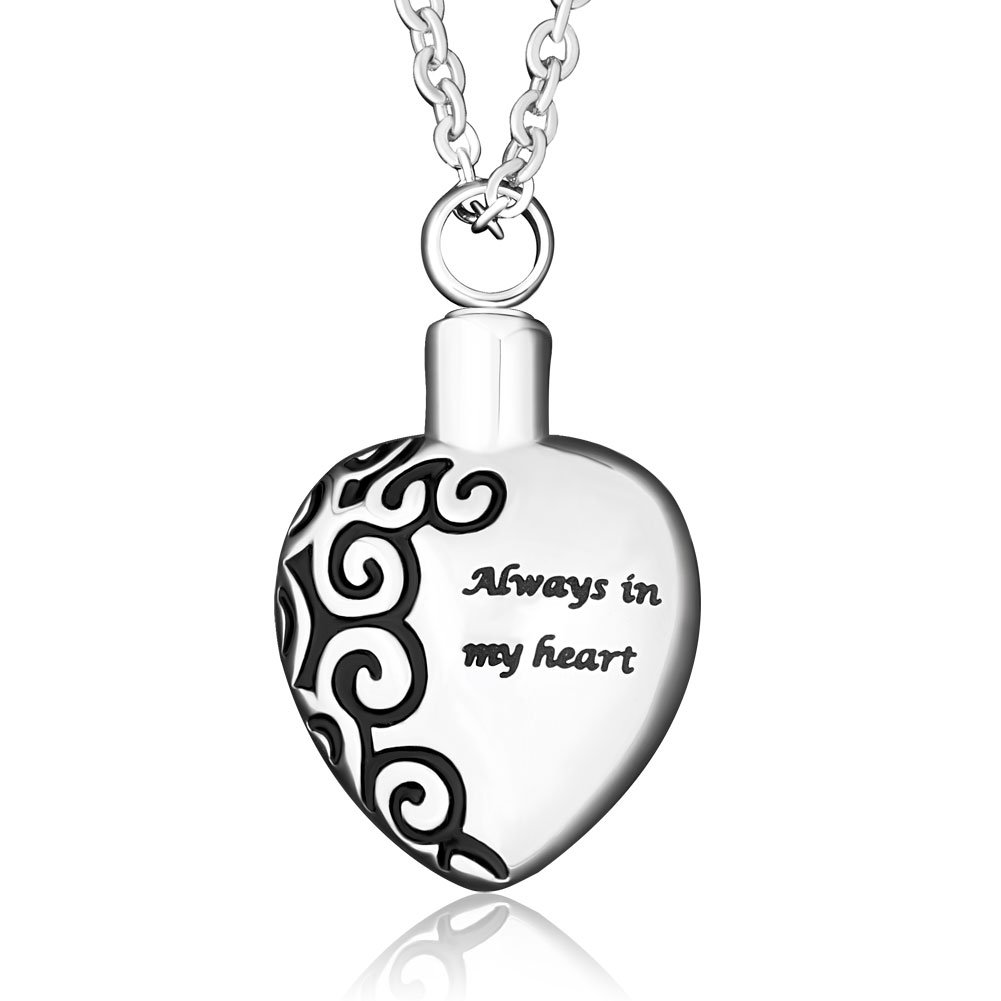Amazon sterling silver heart cremation urn ashes necklace amazon sterling silver heart cremation urn ashes necklace always in my heart pendant keepsake memorial pet supplies mozeypictures Images