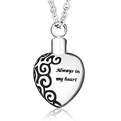 32bf1824c Amazon.com: CharmSStory Sterling Silver Heart Cremation Urn Ashes Always In  My Heart Pendant Keepsake Memorial: Jewelry