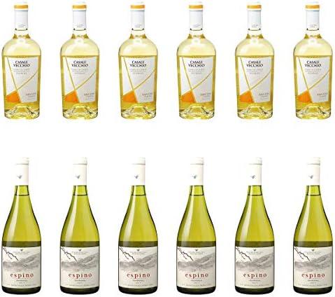 [ 12本 まとめ買い ワイン 飲み比べ ] 2018年 カサーレ ヴェッキオ ペコリーノ (ファルネーゼ) 750ml と 2018年 エスピノ シャルドネ (ビーニャ ウィリアム フェーヴル チリ) 750ml ワインセット