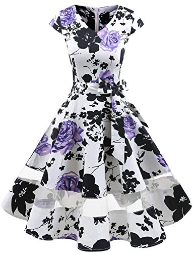 Gardenwed Women's 1950s Rockabilly Cocktail Party Dress Retro Vintage Swing Dress Cap-Sleeve V Neck White Lavender Flower M ()