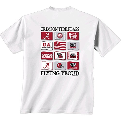 New World Graphics NCAA Alabama Crimson Tide Flying Proud Short Sleeve T-Shirt, XX-Large, White (Bowl T Iron Alabama Shirt)