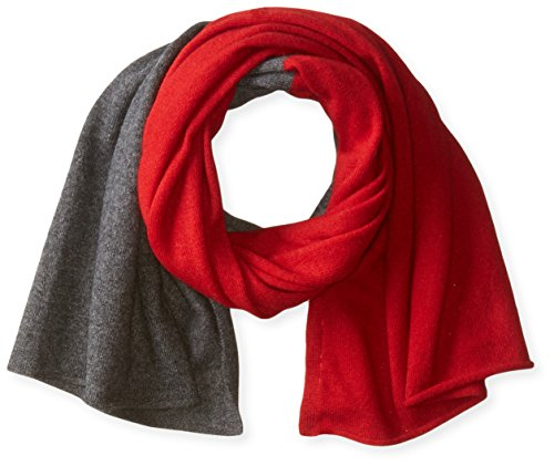 bela.nyc Women's Cashmere Two-Color Scarf, Bright Crimson/Charcoal Heather, One Size by bela.nyc