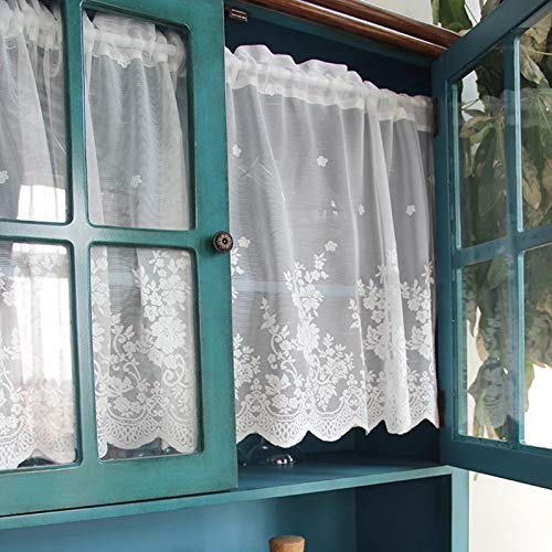 (WINYY Lace Short Curtain for Kitchen Window Jacquard Floral Sheer Curtain Valance for Small Window Rod Pocket Top Tulle 1 Piece (39 Inch Wide, 20 Inch Long))