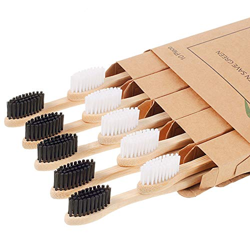 Biodegradable Bamboo Toothbrushes, 10 Piece BPA Free Soft Bristles Toothbrushes, Natural, Eco-Friendly, Green and…