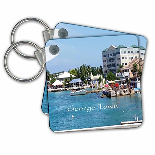3dRose Key Chains Image of Georgetown Grand Cayman Port, Set of 2, 2.25 x 2.25 (kc_253691_1) (Grande Kitchen)