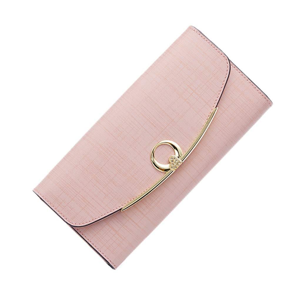 TALLA 19*9.4*3.5cm. Monederos Cartera de Regalo Monedero Largo para Mujer 2018 Nuevo Bolso de Embrague PU Billetera Femenina Monedero multifunción (Color : Pink, Size : 19 * 9.4 * 3.5cm)