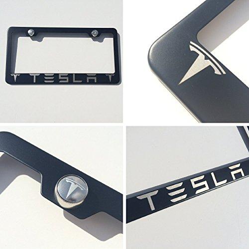 Logo Screw (Black Powder Coated Tesla Laser Engraved Stainless Steel License Plate Frame with Logo Engraved Steel Screw Cap Set)