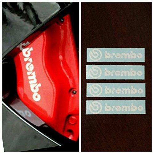 Brembo Brake Caliper R&G HIGH TEMP Decal Sticker Set of 4 (White) - Mustang Brake Caliper Decals