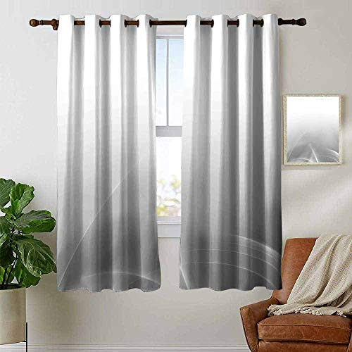 petpany Blackout Curtains for Bedroom Grey,Digital Effect Gradient Light Ombre Wavy Color Abstract Theme Futuristic Style,Gray,Darkening Grommet Window Curtain 1 Pair - Ombre Sport Yarn Satin